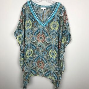 Umgee Pullover Tunic Top Blue Paisley Size Large